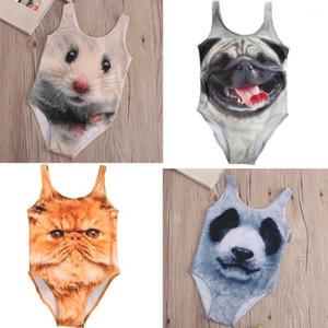 4 Styles Cartoon 3D Animal One-piece Swimsuit Kids Girls Bikini Swimwear Cute Animals Swimming Bathing Suit Swimsuits 3-10Year1