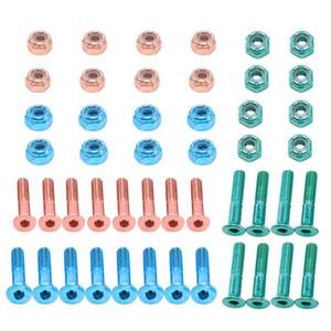 24pcs 평면 헤드 교체 스케이트 보드 트럭 하드웨어 롱 보드 장착 나사 볼트 2.54 cm / 1inch
