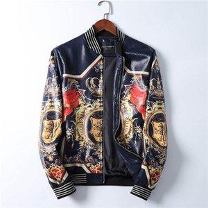 20ss de la motocicleta chaqueta de cuero de los hombres de la universidad Fleece Bombardero de béisbol chaquetas de cuero de imitación abrigos para hombre de la chaqueta de bombardero de invierno piloto de Asia tamaño M-3XL