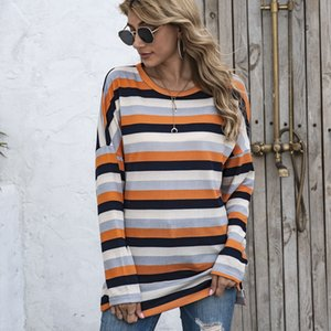 Striped O-Neck Loose Womens T-Shirts Spring Autumn Long Sleeve Plus All Match Women Designer Tops Casual Clothing
