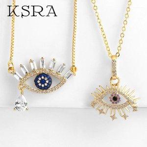 Ksra vintage chapado de oro cobre cz malvado ojo collar para las mujeres moda oro cadena de latón boho collar colgante joyería