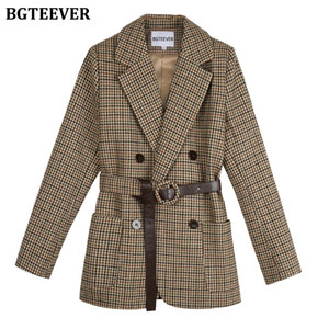 BGTEEVER Vintage Houndstooth Women Blazer Sashes Double-breasted Plaid Female Suit Jacket Long Sleeve Pockets blaser femme 2020 C1011
