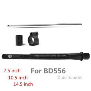 "Kit tubi BD556 M4 AEG Gas tubo metallico 7.5"" / 10 pollici / 14.5"" Low Profile Micro Block Rotolo Pin anodizzato esterno"