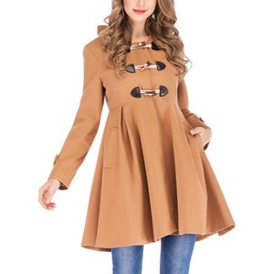 Women Winter Jacket Ladies Horn Buckle Jackets Warm Faux Splice Zipper Hooded Coat Jacket Outerwear Oversize Windbreaker