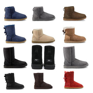 high quality Women Winter Snow Boots Short bow Low black Grey coffee Navy red purple Ankle Knee Keep warm ladies girls shoes