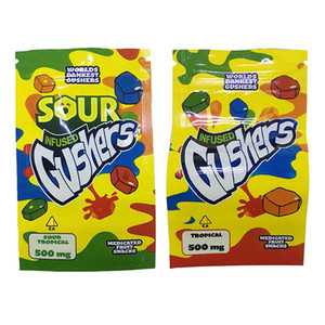 Sour Gushers Exotic Mylar Bag Infused Smell Proof Dustproof 500mg Medibles Edibles Zipper Pouch For Tobacco Dry Herb Flower Retail GWC3178