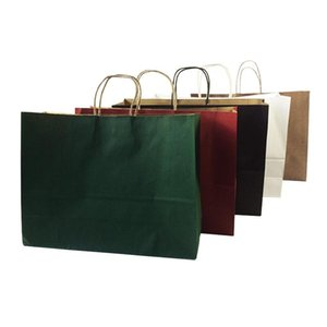 10 Pcs lot Multifuntion Kraft Paper Bags With Handle Multicolor Optional Gift Party Holiday Recyclable Package Bag 42*31*13cm