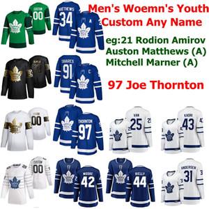 Toronto Maple Leafs Hockey Jerseys 97 Joe Thornton 34 Auston Matthews 16 Mitchell Marner 91 John Tavares Morgan Rielly Womens Custom Stitche