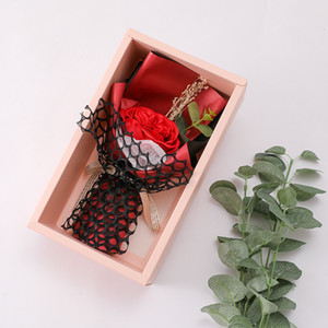 Soap flower gift box valentine day simulation soap flower gift box mother day wedding birthday flower boxes present WQ627