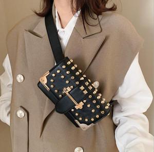 Female Rivet Waist Bag Fashion Ins Women Chest Bag Single Chain Shoulder Crossbody Double Shoulder Strap