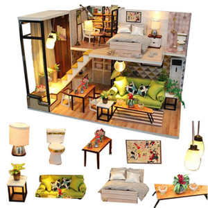 DIY Wooden Miniature Dollhouse With LED Light Doll House Furniture Model Building Kits Toys For Children Adult LJ201126