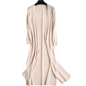 Long Female Summer Thin Linen Knitted Kimono Cardigan Sweater Women 3 4 Sleeve Sun Protection Shirt Beach Clothing 2019 Q1114