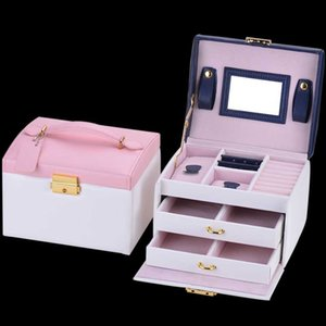 TX002 New Jewelry Box Large Capacity Leather Storage Jewelry Box Earring Ring Necklace with Mirror Watch Organizer