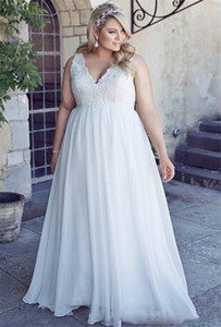 Romantic V-Neck Plus Size Lace Wedding Dresses Garden Cheap Chiffon 2021 Spring Train Large vestido de noiva Bridal Gown Ball For Bride