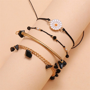 Women Anklets Black Turquoise Daisy Bohemian Beach Anklet Barefoot Small Chains Leg Bracelets Foot Bracelet Ankle Chain Foot Jewelry 305 G2