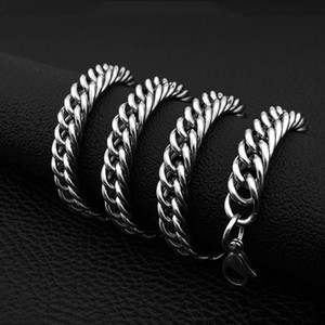 10mm Big Size Mens High Quality 316L Double Chain Stainless Steel Necklace Curb Cuban Link Chain Hip Hop Necklace Jewerly 60cm
