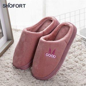 Shofort Damenschuhe warm zu Hause Winter-Hausschuhe Weiche dicke rutschfeste Unterhäuser-Hausschuhe innen 201103