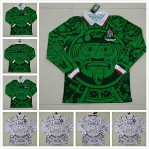 Uzun Kollu 1998 Retro Edition Meksika Futbol Forması 1998 Dünya Kupası Futbol Gömlek Meksika Ev Mavi Futbol Gömlek Uzak Beyaz Futbol Üniformaları