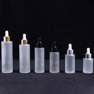 Frosted Glass Essential Oil Dropper Bottle 20ml 30ml 40ml 50ml 60ml 80ml 100ml Cosmetic Packaging Vial Refillable Bottles 10pcs