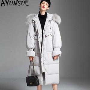 AYUNSUE Women's Winter Down Jacket Long Coat Korean 90% White Duck Down Coats Puffer Jacket Big Raccoon Fur Collar 182010 J2806