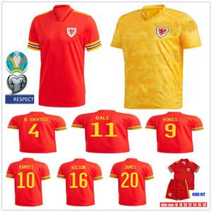 2019 2020 Galles del pullover di calcio 11 BALE 10 RAMSEY VOKES ALLEN James Wilson B.DAVIES personalizzato Adult Red bambini calcio giovanile Camicia