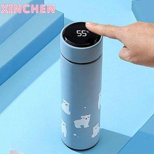 Xinchen 450ml Temperatur LED-Anzeige Thermoskaffee Tee Milchbecher Vakuumkolben Edelstahl Wasserflasche für Reisen Auto 201119