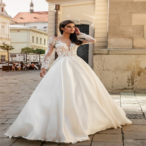 New Arrival Boho A Line Wedding Dresses Long Sleeves Appliqued Lace Cheap Bridal Gowns Ruched Gorgeous Custom Made Robes De Mariée