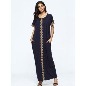 summer patchwork design short sleeve abaya women casual maxi dress plus size kaftan ramadan EID robe islamic Judaic dubai gown
