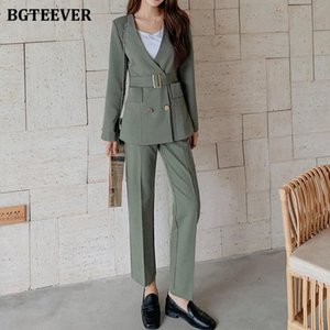 BGTEEVER Office Ladies V-neck Blazer Set 2020 Autumn Women Pant Suit Belted Jacket & Suit Pant Elegant 2 Pieces Set Female
