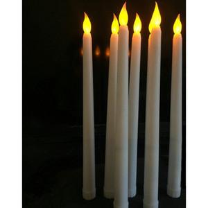 Home Leed 11 дюймов светодиодный аккумулятор управляемый мерцающий беспламенные слоновые конические свеча лампы палочки Свеча Свадебный столовый номер Чу JLLIIJ SPORT777