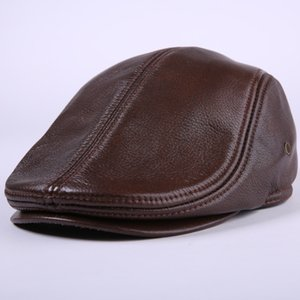 Cowhide Genuine Leather newsboy cap middle aged and old man vintage flat cap ear protection beret hat