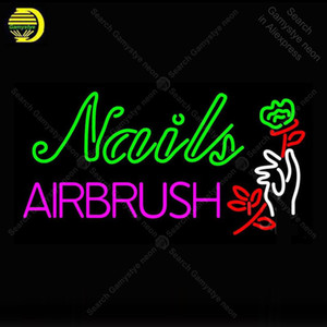 Neon Sign Nails Airbrush With Flower Glass Neon Light for Store Display Neon Wall Light Decorative Shop Signs Arcade Advertise