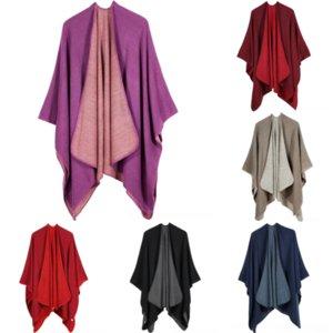 KL6Z Herbst Tie-Farbstoff Plaid Printing Hat Frauen Mode Winter Mode SHL Schal Schal Marke Solide Farbe Warme Winddichte Wrap Hohe Qualitäts