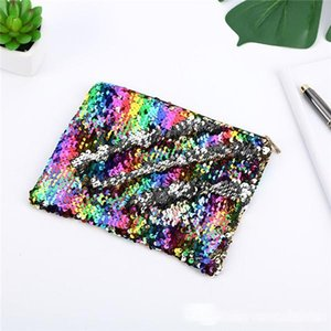 New Double Sided Sequins Cosmetic Bag Women Mermaid Makeup Pouch Pencil Coin Storage Bags Zipper Clutch Bags