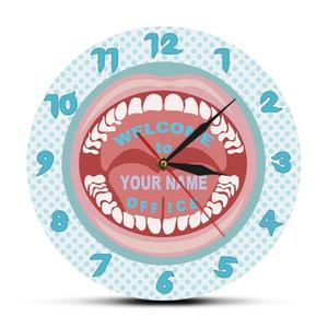 Wanduhren Zahnpflege Personalisierte Geschäftsname Uhr Benutzerdefinierte Zahnarzt Hygienist Zähne Klinik Dekor Zahnmedizin Kunst