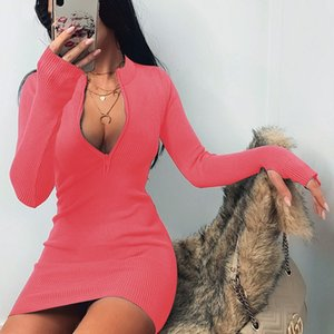 Axfk Party Club Dresses Donne Pure Wear Fashion Autunno Colore Ruffled Bolder Sleeve Dresses Womens Bodycon Casual Ins Celebrità online