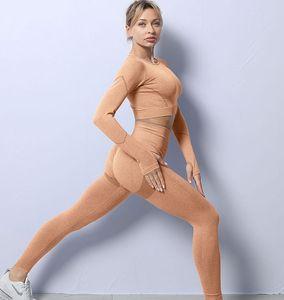 Autunm winter Fashion Designer Womens Cotton Yoga Suit Gymshark Sports wear Tracksuit Fitness gym wear 2 Piece set 2PCS bra Leggings outfits