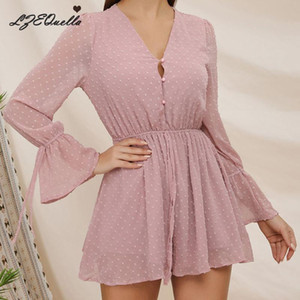 LZEQuella Women Sexy Long Sleeve High Waist Wide Leg Jumpsuits Rompers Pink Cute Lace Up Playsuit Casual Loose Clothing NZ1368