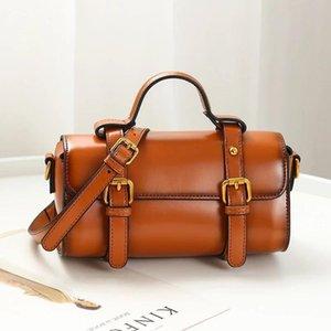 2020 genuine leather handbags cylindrical bag portable diagonal shoulder bag leather handbags
