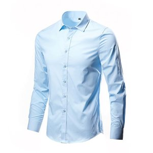 Man Tops Solid Shirts Male Wear Slim Full Sleeve Man Casual Shirts Formal Dress Mens Wearing Office Basic Style
