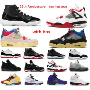 11S 11 25th Anniversary Basketball-Schuhe 4s Black Cat 5 5S Feuerrot Silber Zunge 11 Space Jam Low Weiß Bred Sneaker Trainer