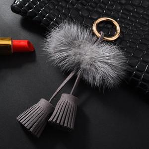 1 stück Nerz Haar Doppel Seilkopf Leder Quaste DIY Schmuck Kleidungsstück Dekorative Zubehör Schlüsselanhänger Handtasche Pendelles Handwerk Tassel H Wmtjpi