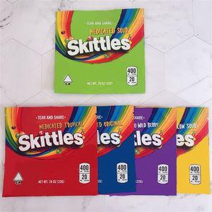Saco de skittles 400mg mylar mala mais novo vazio medicado ácido tropical arco-íris de bagas selvagens edibles doces gummies embalagens Atacado