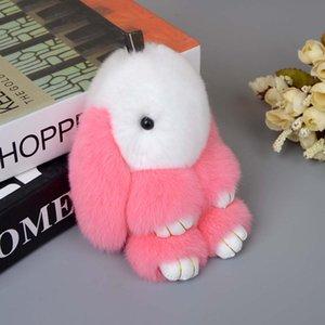 13cm Rex Rabbit Doll Key Chains Bunny Rabbit Pompom Fur Keychain Handbag Doll stuffed plush totoro doll plush toy kawaii anime
