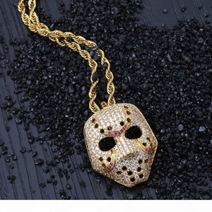 Hip Hop Brass Gold&Rose Gold Color Plated Iced Out Micro Paved Cubic Zircon Mask Pendant Necklace for Men Women Gift Idea