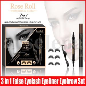 3 Paare Magnetische Wimpern falsche Wimpern + Liquid Eyeliner + Pinzette Augenbraue-Augen Make-up-Set 3 in 1 Magnet Falsche Wimpern Set