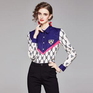 2021 Quality Spring Classic Shirts Plus Size Long Sleeve Lapel Women's Runway Button Shirt Tops Autumn Winter Office Ladies Designer Blouses