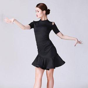 Nouvelle Robe de danse latine Femmes Costume Noir Tops Jupe à manches courtes Pratique Pratique Vêtements Rumba Tango Performance Costume BI380