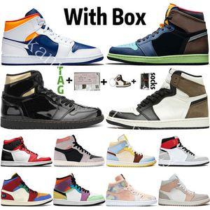 1 1s 2020 새로운 도착 Jumpman 높은 OG 1 초 라이트 스모크 그레이 UNC 남성 농구 신발 디자이너 흑요석 사우스 비치 스포츠 트레이너 스니커즈 신발
