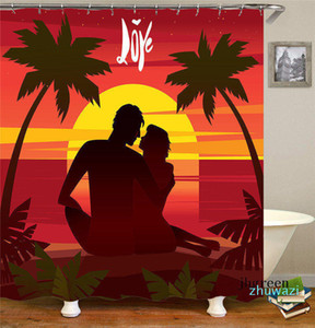 Lovers At Sunset Shower Curtain High Quality Printing Bath Curtains Retro Home Decorate Shower Curtain Bathroom Shower Curtain With Hooks
